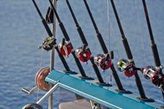 Cañas de pescar y línea de los carretes Imagen de archivo libre de regalías