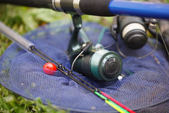 Cañas de pescar y trastos para pescar Fotos de archivo libres de regalías