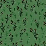 Cañas en un fondo verde stock de ilustración