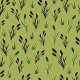 Cañas en un fondo verde oliva ilustración del vector