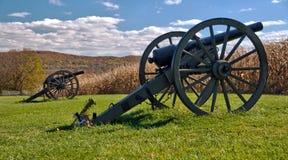 Cañones en el campo de batalla del nacional de Antietam Imagen de archivo libre de regalías
