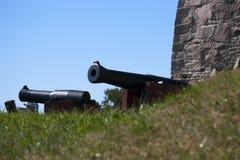Cañones en el fuerte de Fredriksten Fotografía de archivo