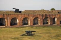 Cañones en la fortaleza Pulaski imagen de archivo libre de regalías