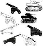 Cañones y los tanques Fotografía de archivo libre de regalías