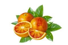 Cała czerwona pomarańcze, plasterki i zieleń, opuszczamy odosobniony na białym tle zdjęcia stock
