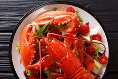 Całość gotującego homara słuzyć z jarzynowym sałatkowym zakończeniem Horiz obraz stock