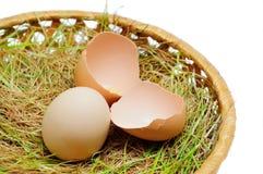 Cały i łamany jajko na trawie Fotografia Stock