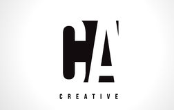 CA C A White Letter Logo Design with Black Square. Stock Images