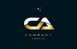 ca c a  white yellow gold golden luxury alphabet letter logo ico Royalty Free Stock Photography