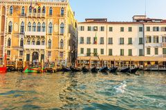 Ca` Giustinian Palace of Venice in the Grand Canal royalty free stock image