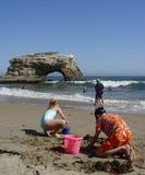 CA - Natural Bridges. Kids playing on the beach at Santa Cruz, CA Stock Image