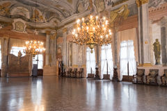 Ca Rezzonico, ballroom in public museum, Venice. Ballroom in Ca Rezzonico, a palazzo which is now a public museum and art gallery on the grand canal, Venice royalty free stock photo