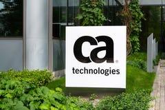 CA Technologies company logo on headquarters building. PRAGUE, CZECH REPUBLIC - MAY 10 2018: CA Technologies company logo on headquarters building on May 10 Royalty Free Stock Photography