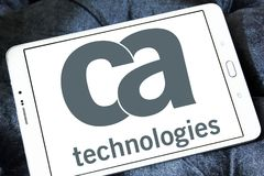 CA Technologies logo. Logo of CA Technologies on samsung tablet. CA Technologies is an American multinational publicly held corporation headquartered in New York Royalty Free Stock Image
