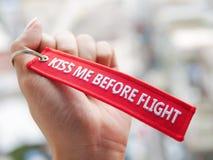 całuje ja przed lotem Fotografia Royalty Free