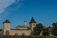 Cały widok Dragomirna monaster z dwa góruje Obrazy Royalty Free