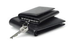 Caase e carteira chaves de couro pretos Foto de Stock Royalty Free