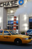 Cab. A yellow cab in front of Chase bank in New-York Royalty Free Stock Images
