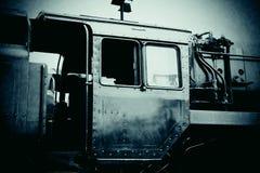 Cab av den gammala ångamotorn arkivbild