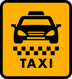 Cab car silhouette on yellow taxi icon Royalty Free Stock Image