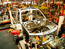 Cab of car in welding line. Cab of car in welding assembly line Stock Images