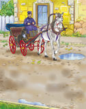 Cab. Colorful illustration of a horse cart Stock Photo