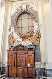 Cab for confession with marble statues of saints in Basilica di San Giovanni in Laterano in Rome, capital of Italy. Cab for confession with marble statues of royalty free stock image