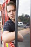 cab firefighter male sitting στοκ φωτογραφία με δικαίωμα ελεύθερης χρήσης