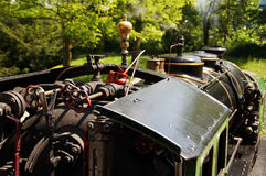 Cab of a historic steam train Stock Image