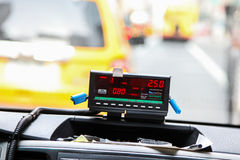 From cab. NEW YORK - MARCH 23: View from cab with meter display in New York on March 23, 2016 Royalty Free Stock Photo