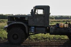 The cab of a retro dump truck close-up stock image