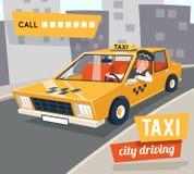 Cab taxi driver cartoon retro car city driving street backgorund vector illustration Stock Images