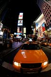 Cab in Times Square. Yellow cab at night in Times Square, New York Royalty Free Stock Photography