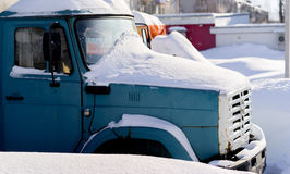 On the cab of the truck in the snow. Stock Image