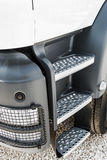 Cab of the truck with the stage and the spotlight. Focus on the spotlight Stock Image