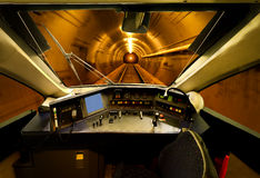 Cab view of train in tunnel Stock Photo