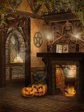 Cabaña de la bruja con las calabazas ilustración del vector