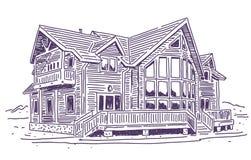 Cabaña de madera stock de ilustración