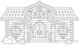 Cabaña de madera adornada Fotografía de archivo