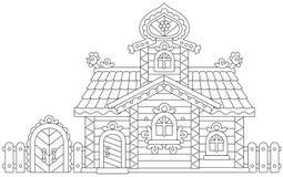 Cabaña de madera adornada Foto de archivo