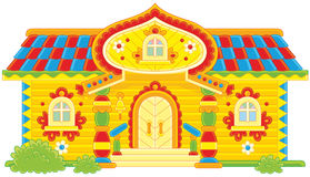 Cabaña de madera adornada Imagen de archivo