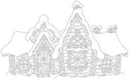 Cabaña de madera adornada debajo de la nieve imagenes de archivo