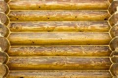 Cabaña de madera de la pared con una textura hermosa tratada Fotos de archivo