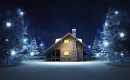 Cabaña de madera en bosque mágico que brilla del invierno Fotografía de archivo libre de regalías