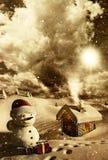 Cabaña de madera en la nieve en la Navidad ilustración del vector