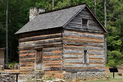 1792 cabaña de madera histórica, Georgia, los E.E.U.U. Foto de archivo