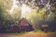 Cabaña de madera vieja en bosque imagen de archivo