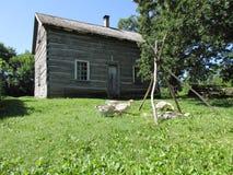 Cabaña de madera y gansos Fotos de archivo