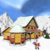 Cabaña de Toon Santas stock de ilustración