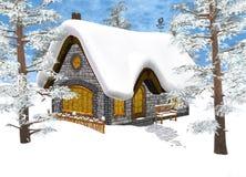 Cabaña del invierno stock de ilustración